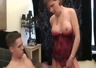 Black stockings babe rides his cock