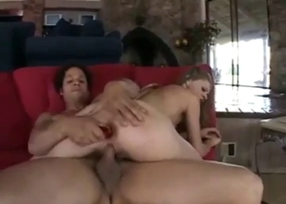 Blond-haired babe banged by her bro