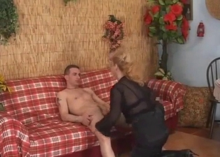 Kinky mommy makes out with her boy