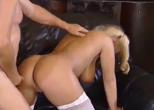 Pigtailed blonde loves dad's dick