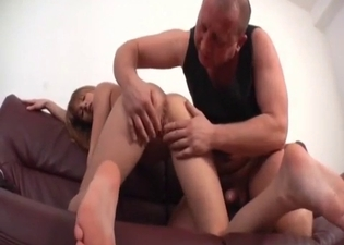Blonde lovingly strokes dad's dick