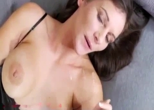 Brunette jerks that massive cock here