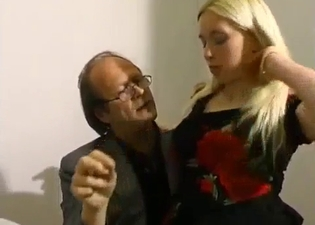 Blonde chokes on father's cock