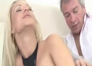 Big-breasted beauty fucks daddy