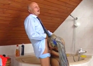 Jerking father's wrinkly boner