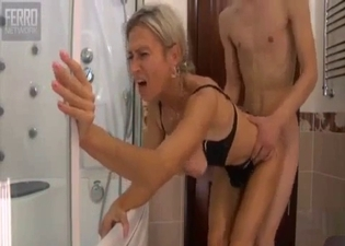 Sideways sex with his naughty mommy