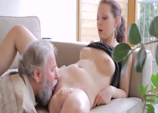 She wants her grandpa's hot cock
