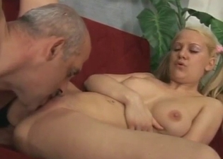 Blonde stripping for her father