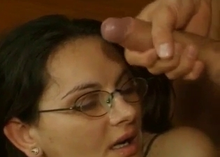 Slut with glasses covered in hot cum