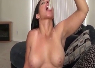 Incestuous action with a busty brunette