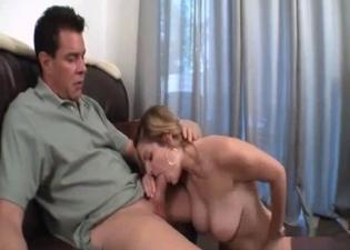 She strokes daddy's massive boner