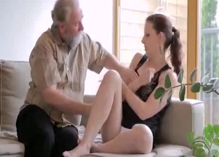 Grandpa happily eating that pussy