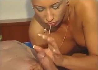 Blonde moans as she takes his cock