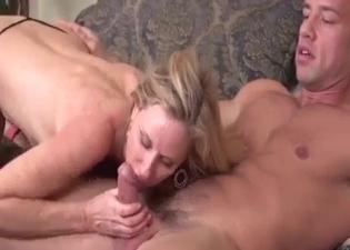 Blonde worships her son's boner