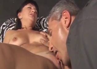 Mature slut fingered by her mature bro