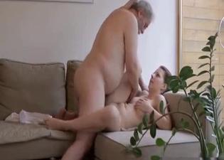 Grandad fucking her tight cooch