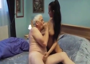 Brunette blows her kinky grandpa