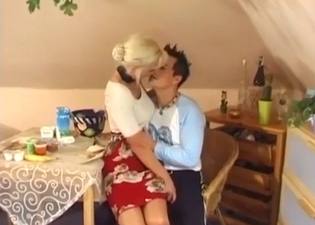 Tanned mom seducing her horny son