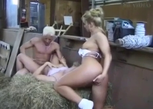 Extreme incest threesome in hay