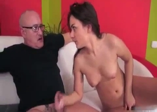 Brunette jerking dad's big dick
