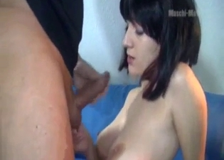 Dark-haired chick worships it here