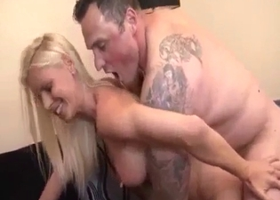 Blonde blows a tatted-up stud here
